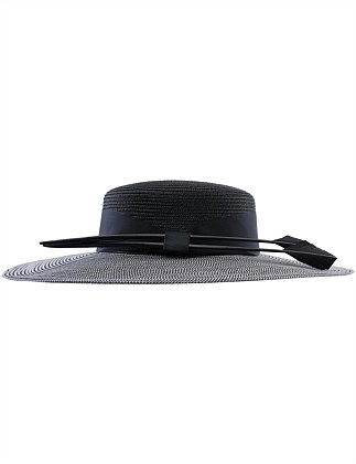 pp flat brim hat with feather
