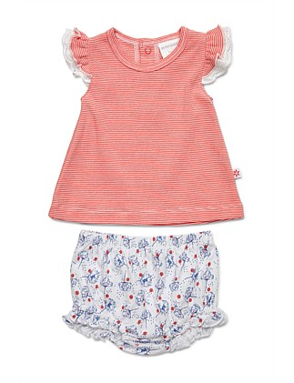 Short Frilled Sleeve Top & Bloomer Set(NB-1Y)