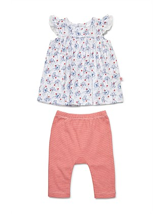 Dress With Frilled Sleeves & Leggings(NB-1Y)