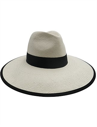 ivory woven paper fedora with black band