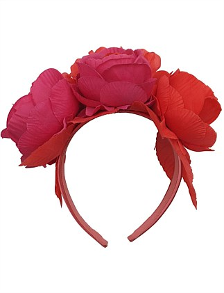 3 peony roses with veiling on headband