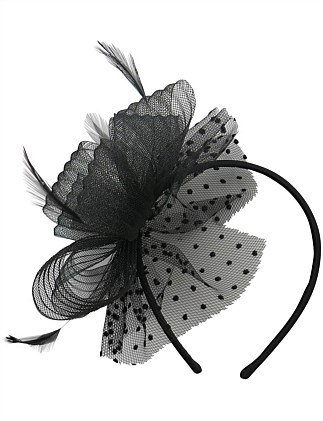 pleated crin loops with spot net fascinator