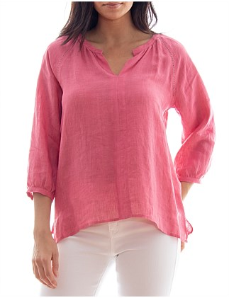 SPOKE STITCH LINEN TOP