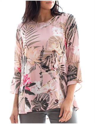 FLOUNCE SLEEVE TROPICAL TOP