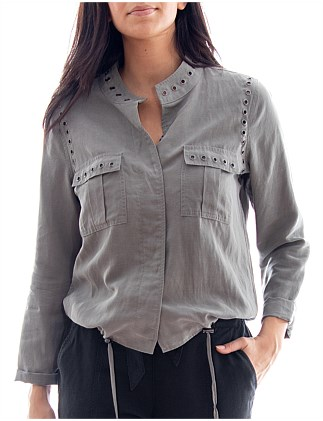 EYELET TRIM BOMBER JACKET