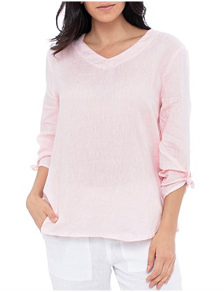 3/4 SLEEVE V NECK LNEN TOP