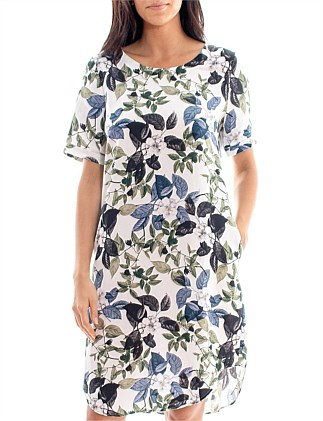 S/SLV ROSE PRINT DRESS