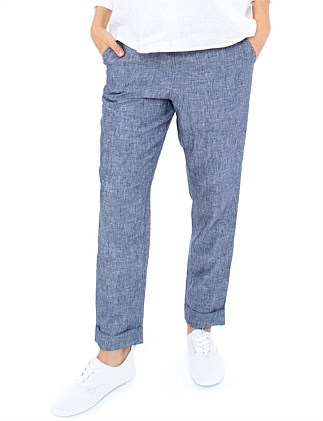 7/8 LINEN PANT WITH CUFF