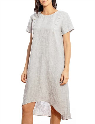 BUTTON DETAIL LINEN DRESS