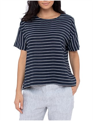 S/SLV STRIPE BOXY TOP