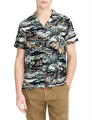 Ss Printed Rayon Camp Collar Volcano Hawaiian