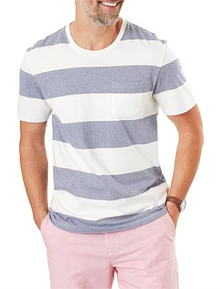BLOCK STRIPE POCKET TEE