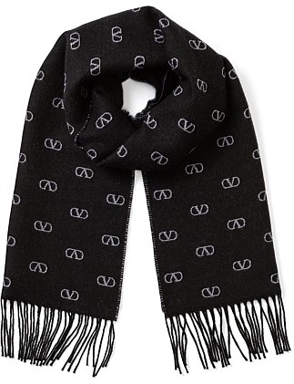 SMALL V LOGO WOOL SCARF