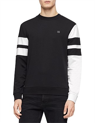 LS DOUBLE BAR SLEEVE STRIPE WIDE CREWNECK SWEATSHIRT
