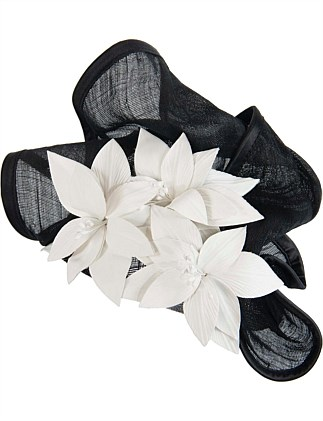 twisted black abaca fan with cream leather flowers