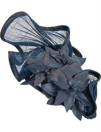 twisted navy abaca fan with leather flowers arrangement