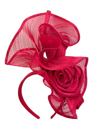 tall red twisted real silk abaca fascinator on headband