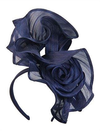 tall navy twisted real silk abaca fascinator on headband