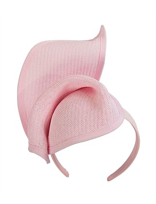 twisted light pink fascinator on the headband