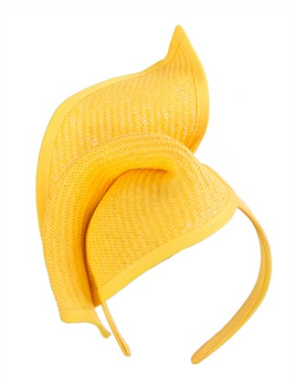 twisted yellow fascinator on the headband