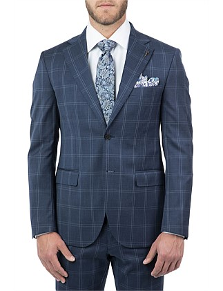 2B SV NOTCH LAPEL HALF CANVAS TAILORED WINDOW PANE JACKET