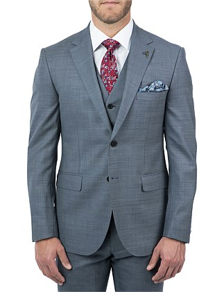 2B SV NOTCH LAPEL HALF CANVAS SHARKSKIN TAILORED JACKET