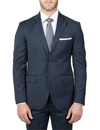 2B SV NOTCH LAPEL HALF CANVAS TAILORED STRIPE JACKET