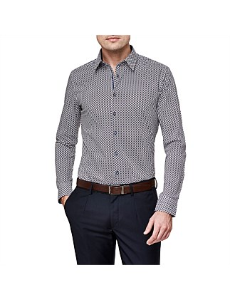 Fasani Slim Stretch Fit Geoprint Shirt