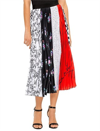 MULTI PRINT PLEATED MIDI SKIRT