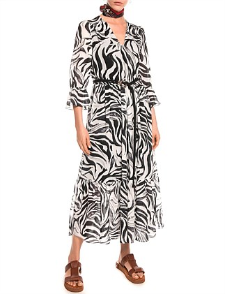 MONOCHROME ZEBRA GEORGETTE DRESS
