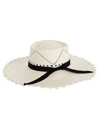 white straw withdetailed scalloped brim and blk ribbon