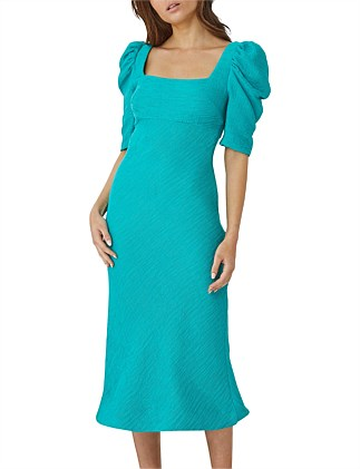 TURQUOISE SHELL SLEEVE BIAS DRESS