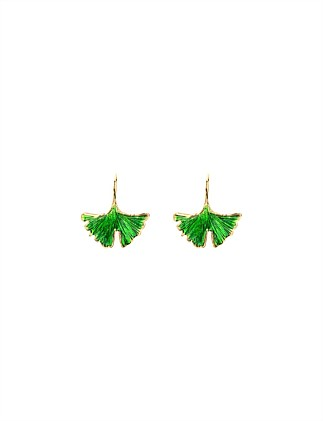 Tangerine earrings with green lacquer