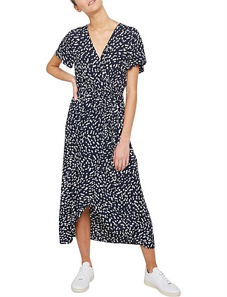DROPLET PRINT WRAP DRESS