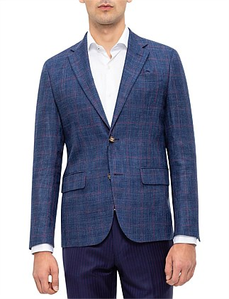 SB 2B SV 45WL55LIN HALF LINED WINDOWPANE CHECK JACKET
