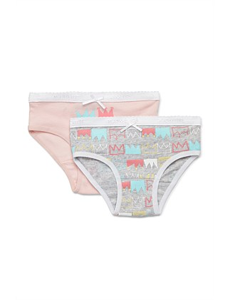 Novelty Crowns 2 Pack Underwear (Girls 2-10)