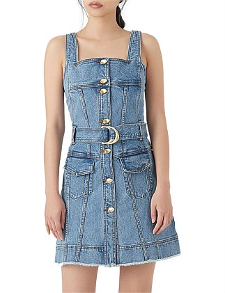 Paperbark Denim Belted Mini Dress