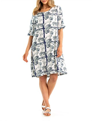 Elbow Tropics Print Dress