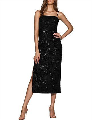 Sequin dress features thin straps and side splits