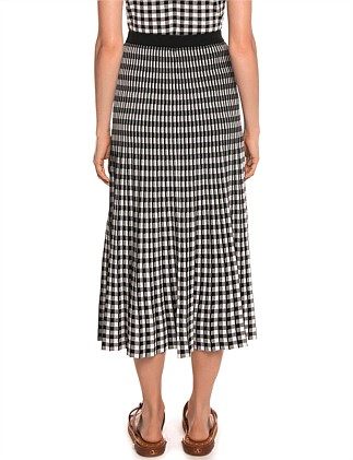 GINGHAM CHECK PLEATED SKIRT