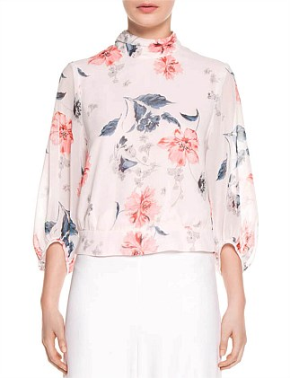 WATERCOLOUR FLORAL CROPPED BLOUSE