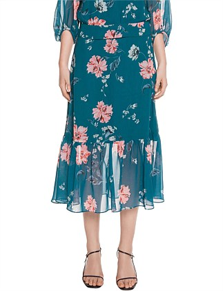 WATERCOLOUR FLORAL GATHERED SKIRT