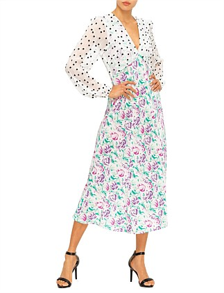 MELANIE POLKA DOT ITALIAN FLORAL - PINK TEAL DRESS
