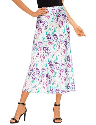 KELLY  ITALIAN FLORAL - PINK TEAL SKIRT