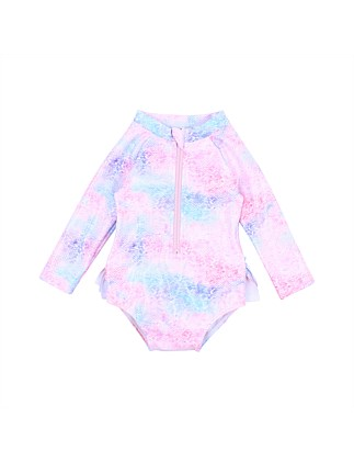Luna L/S Sunsuit W Aqua Nappy (3M-2Y)