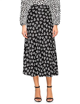 KELLY BUNCH SHADOW FLORAL SKIRT- BLACK WHITE SKIRT