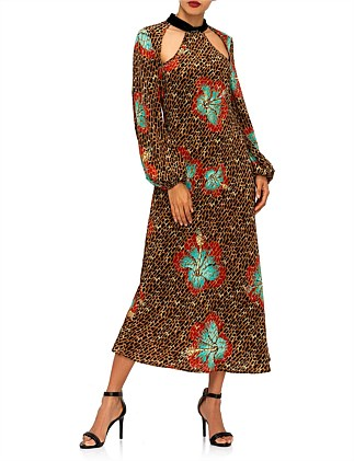 TERI HAWAII GIRAFFE - CAMEL MINT DRESS