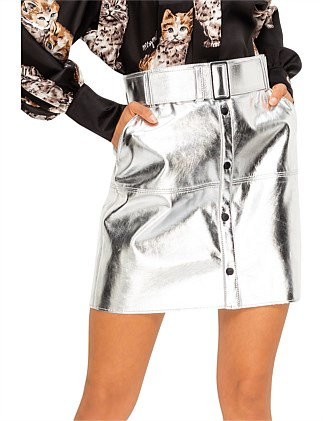 METALLIC MINI SKIRT W/BUTTON DETAIL