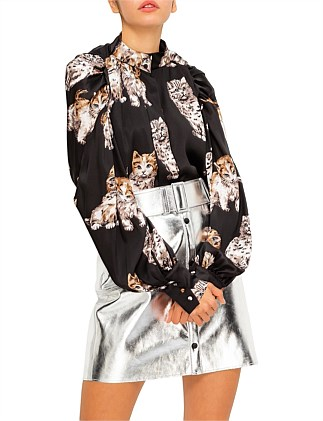 CAT PRINT L/S BLOUSE