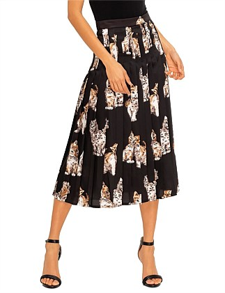 CAT PRINT MIDI PLEAT SKIRT